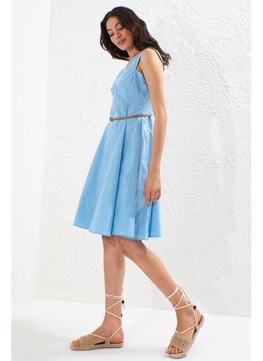 Setre Gök Mavisi V Yaka Kemerli Kolsuz Volanlı Elbise Mavi
